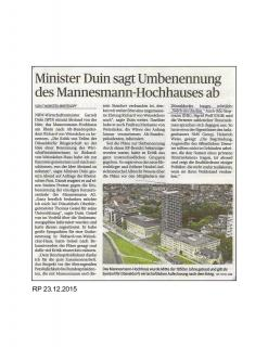 Minister Duin sagt Umbenennung des Mannesmann-Hochhauses ab