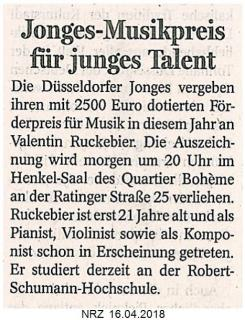 Jonges-Musikpreis für junges Talent
